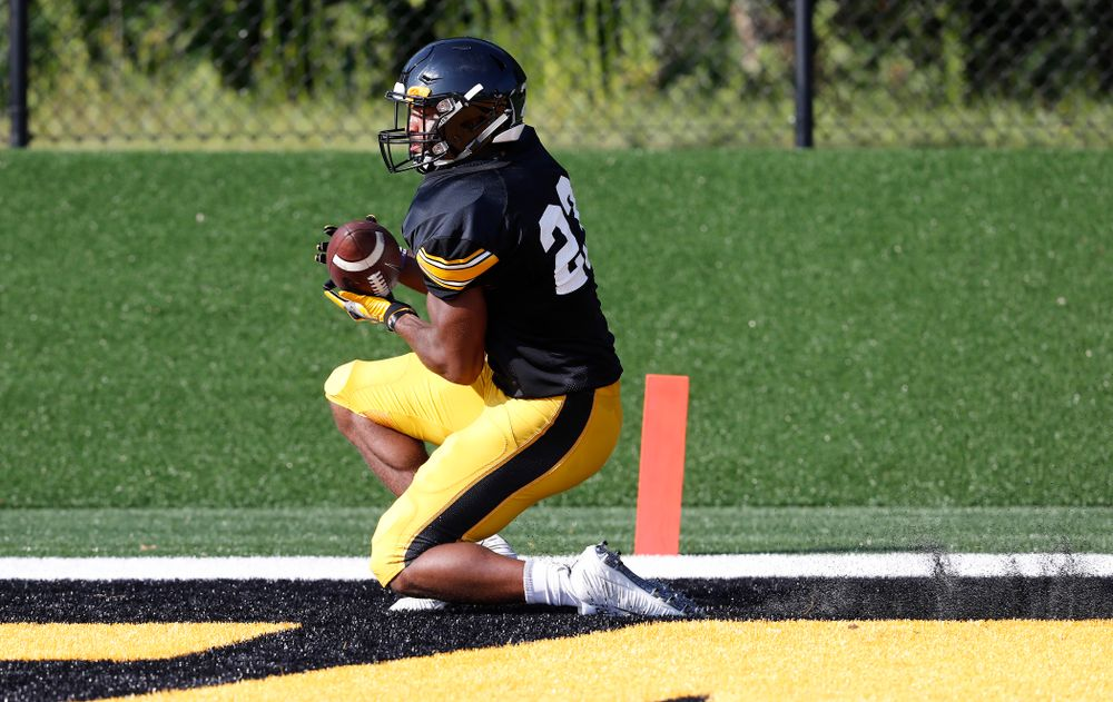 Iowa Hawkeyes wide receiver Dominique Dafney (23) during camp practice No. 17 Wednesday, August 22, 2018 at the Kenyon Football Practice Facility. (Brian Ray/hawkeyesports.com)