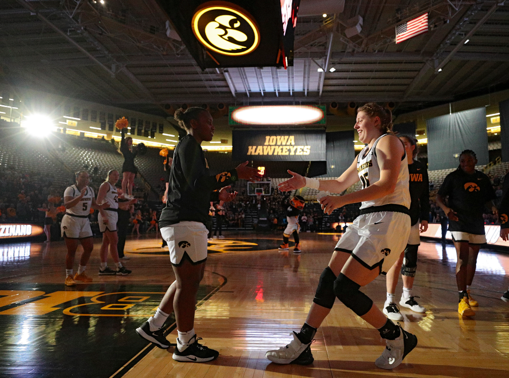 Iowa forward/center Monika Czinano (25) is introduced before their overtime win against Princeton at Carver-Hawkeye Arena in Iowa City on Wednesday, Nov 20, 2019. (Stephen Mally/hawkeyesports.com)