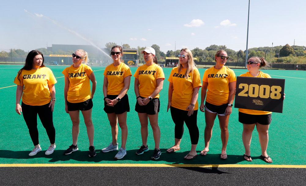 Former stand out Iowa Field Hockey teams are introduced as part of an alumni reunion during halftime of the Iowa Hawkeyes game against Indiana Sunday, September 16, 2018 at Grant Field. (Brian Ray/hawkeyesports.com)