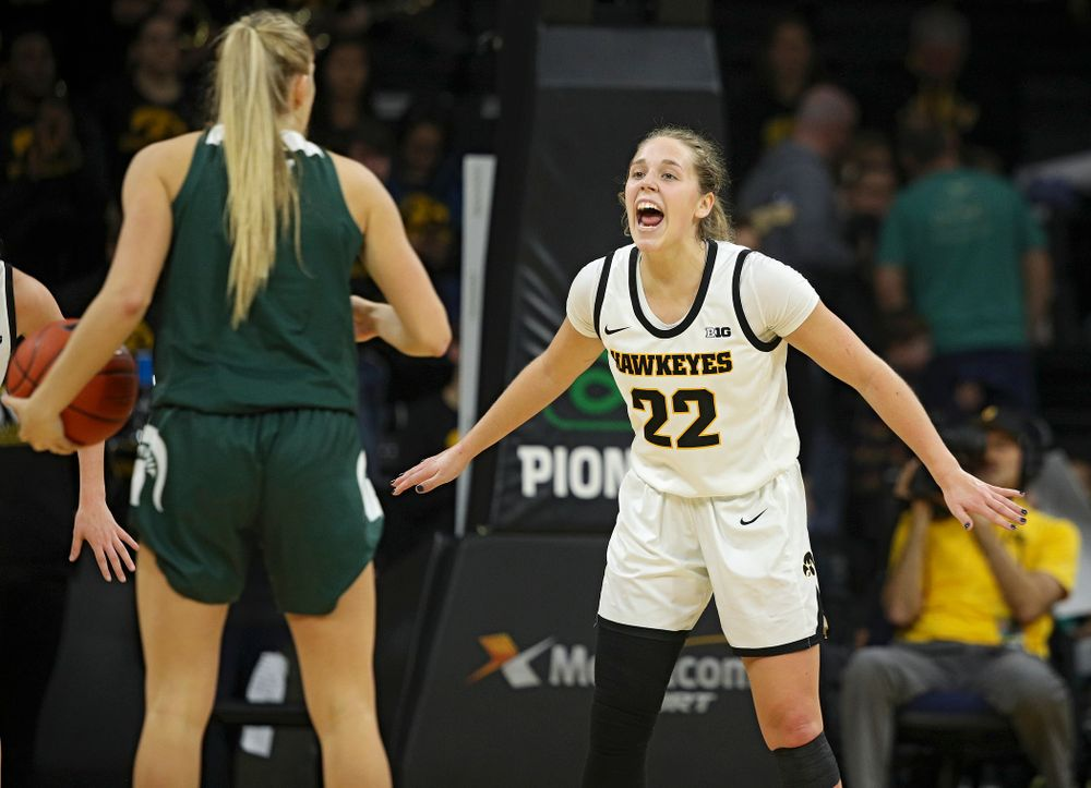 Iowa Hawkeyes guard Kathleen Doyle (22) shouts during the fourth quarter of their game at Carver-Hawkeye Arena in Iowa City on Sunday, January 26, 2020. (Stephen Mally/hawkeyesports.com)