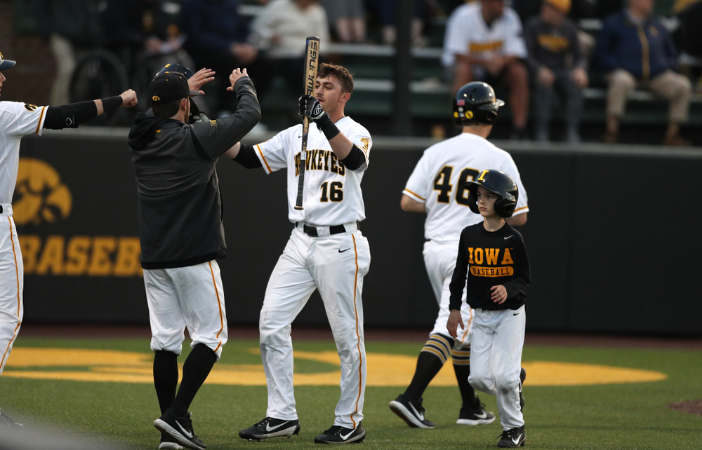 Iowa Hawkeyes Tanner Wetrich (16) and Gavin Gorzelanny against the Michigan State Spartans Friday, May 10, 2019 at Duane Banks Field. (Brian Ray/hawkeyesports.com)