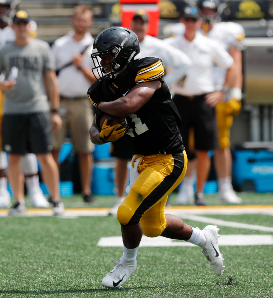 Iowa Hawkeyes running back Ivory Kelly-Martin (21) during Kids Day Saturday, August 11, 2018 at Kinnick Stadium. (Brian Ray/hawkeyesports.com)