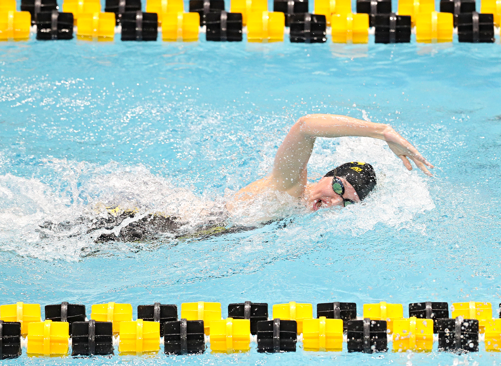 Iowa's Allyssa Fluit swims the women's 200 yard freestyle preliminary event during the 2020 Women's Big Ten Swimming and Diving Championships at the Campus Recreation and Wellness Center in Iowa City on Friday, February 21, 2020. (Stephen Mally/hawkeyesports.com)