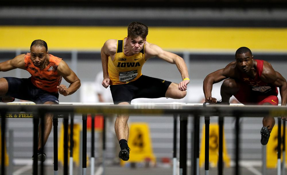 Iowa's Chris Douglas wins the 60-meter hurdles during the Jimmy Grant Invitational Saturday, December 8, 2018 at the Recreation Building. (Brian Ray/hawkeyesports.com)