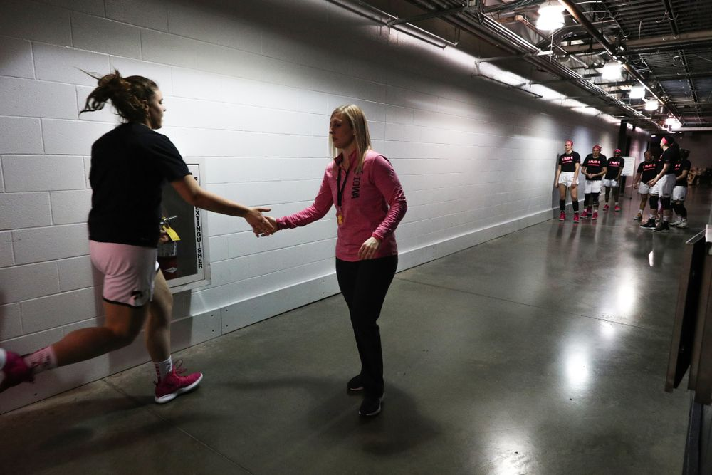 Strength and Conditioning coach Lindsay Dinkelman against the Rutgers Scarlet Knights in the semi-finals of the Big Ten Tournament Saturday, March 9, 2019 at Bankers Life Fieldhouse in Indianapolis, Ind. (Brian Ray/hawkeyesports.com)