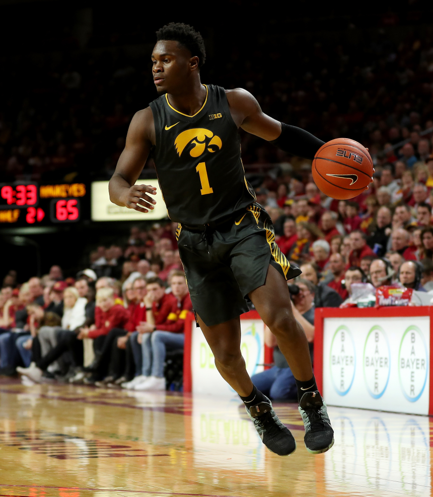 Iowa Hawkeyes guard Joe Toussaint (1) against the Iowa State Cyclones Thursday, December 12, 2019 at Hilton Coliseum in Ames, Iowa(Brian Ray/hawkeyesports.com)