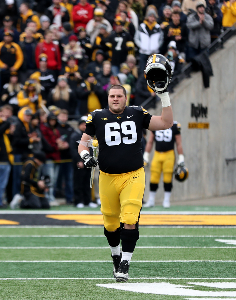 Iowa Hawkeyes offensive lineman Keegan Render (69) during senior day activities before their game against the Nebraska Cornhuskers Friday, November 23, 2018 at Kinnick Stadium. (Brian Ray/hawkeyesports.com)
