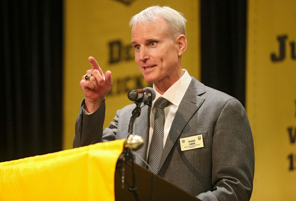 2019 University of Iowa Athletics Hall of Fame inductee Marc Long speaks during the Hall of Fame Induction Ceremony at the Coralville Marriott Hotel and Conference Center in Coralville on Friday, Aug 30, 2019. (Stephen Mally/hawkeyesports.com)