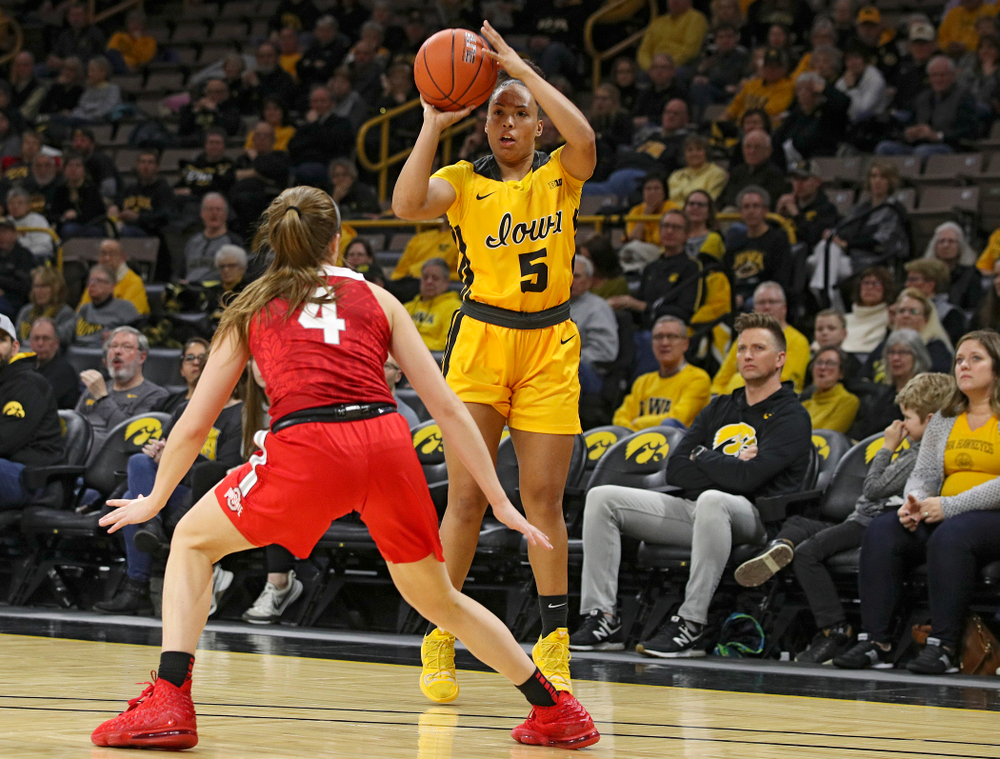 Iowa Hawkeyes guard Alexis Sevillian (5) lines up a shot during the first quarter of their game at Carver-Hawkeye Arena in Iowa City on Thursday, January 23, 2020. (Stephen Mally/hawkeyesports.com)