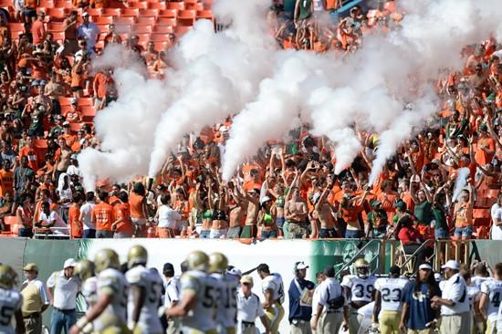 The #14'th ranked University of Miami Hurricanes play the Georgia Tech Yellow Jackets at Sun Life Stadium on October 05, 2013. Photo by Ray Medina/SPN