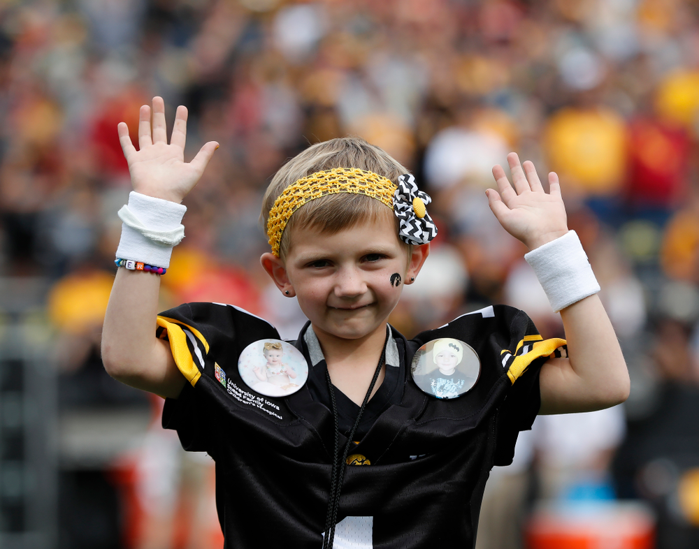Kid  Captain Harper Stribe before the Iowa Hawkeyes game against against the Iowa State Cyclones Saturday, September 8, 2018 at Kinnick Stadium. (Brian Ray/hawkeyesports.com)