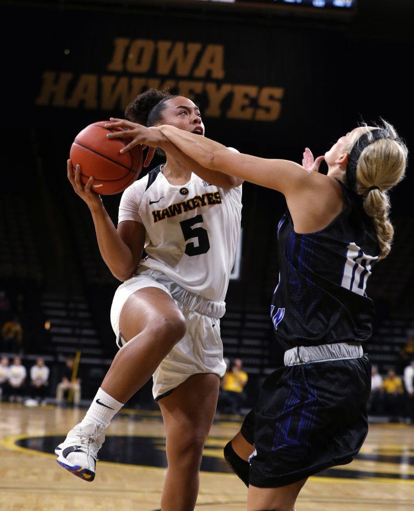 Iowa Hawkeyes guard Alexis Sevillian (5) against Dakota Wesleyan University Tuesday, November 6, 2018 at Carver-Hawkeye Arena. (Brian Ray/hawkeyesports.com)