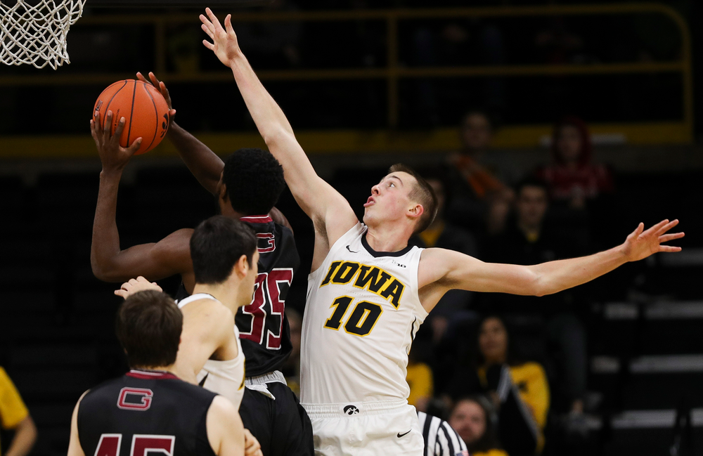 Iowa Hawkeyes guard Joe Wieskamp (10) contests a shot during a game against Guilford College at Carver-Hawkeye Arena on November 4, 2018. (Tork Mason/hawkeyesports.com)