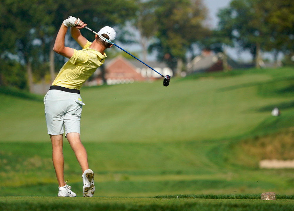 Iowa's Benton Weinberg tees off during the third day of the Golfweek Conference Challenge at the Cedar Rapids Country Club in Cedar Rapids on Tuesday, Sep 17, 2019. (Stephen Mally/hawkeyesports.com)