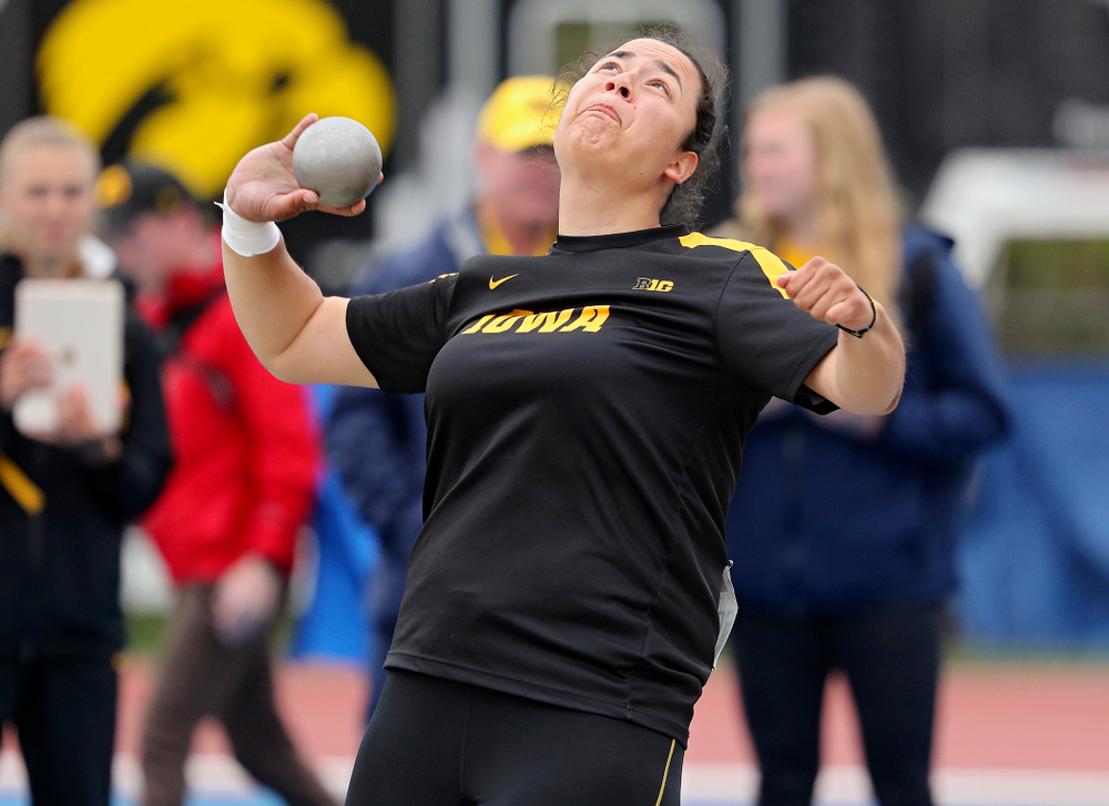 Iowa's Konstadina Spanoudakis throws in the women's shot put event on the second day of the Big Ten Outdoor Track and Field Championships at Francis X. Cretzmeyer Track in Iowa City on Saturday, May. 11, 2019. (Stephen Mally/hawkeyesports.com)