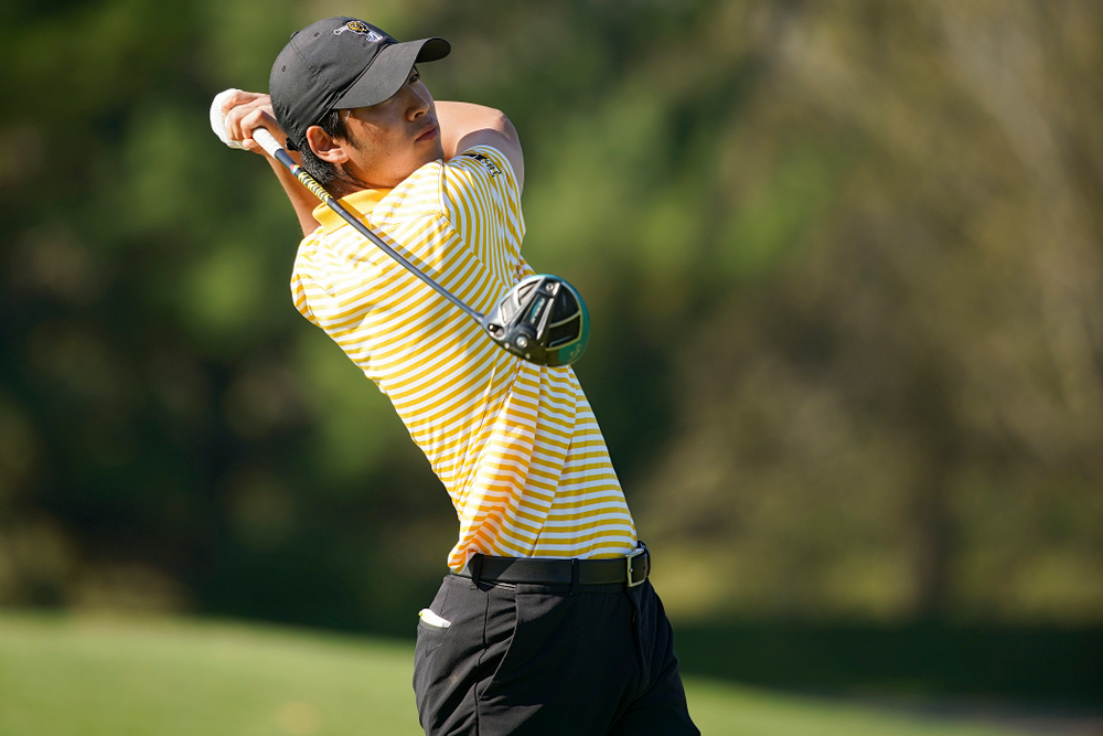 Iowa's Joe Kim tees off during the third round of the Hawkeye Invitational at Finkbine Golf Course in Iowa City on Sunday, Apr. 21, 2019. (Stephen Mally/hawkeyesports.com)