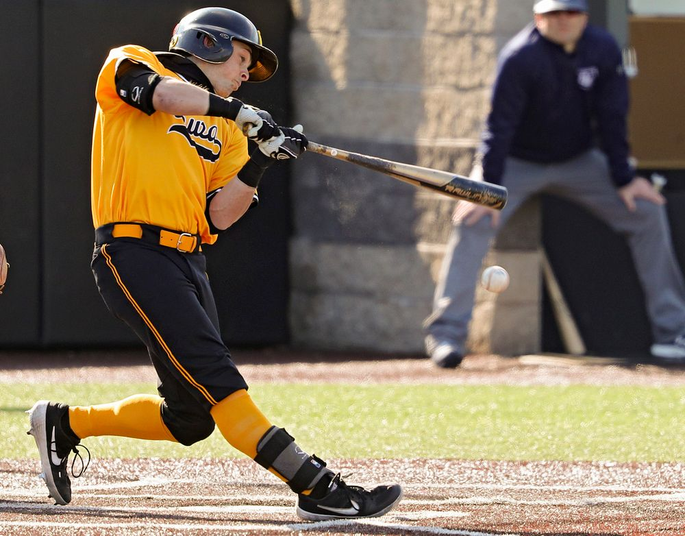 Iowa Hawkeyes second baseman Mitchell Boe (4) bats during the first inning of their game at Duane Banks Field in Iowa City on Tuesday, Apr. 2, 2019. (Stephen Mally/hawkeyesports.com)