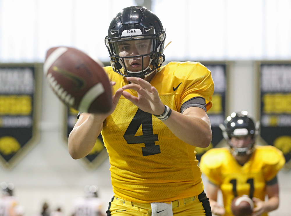Iowa Hawkeyes quarterback Nate Stanley (4) takes a snap during Fall Camp Practice No. 6 at the Hansen Football Performance Center in Iowa City on Thursday, Aug 8, 2019. (Stephen Mally/hawkeyesports.com)