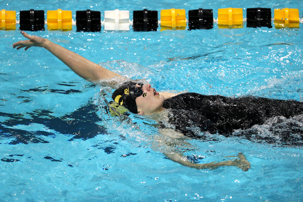 Iowa's Hanna Burvill swims the 200-yard backstroke against the Iowa State Cyclones in the Iowa Corn Cy-Hawk Series Friday, December 7, 2018 at at the Campus Recreation and Wellness Center. (Brian Ray/hawkeyesports.com)