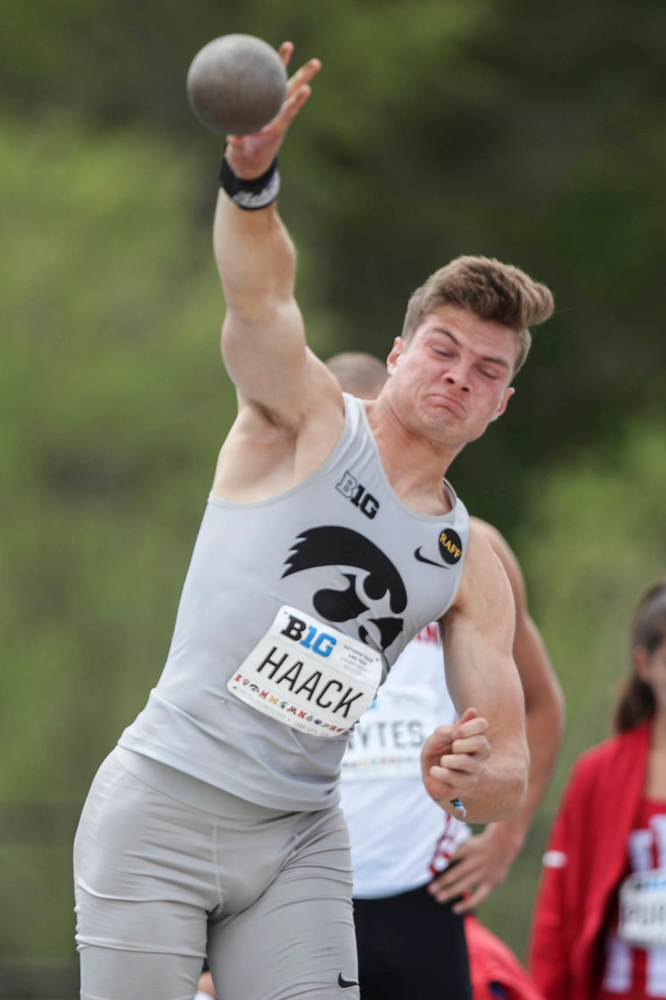 Iowa's Peyton Haack during the men's shot put at the Big Ten Outdoor Track and Field Championships at Francis X. Cretzmeyer Track on Friday, May 10, 2019. (Lily Smith/hawkeyesports.com)
