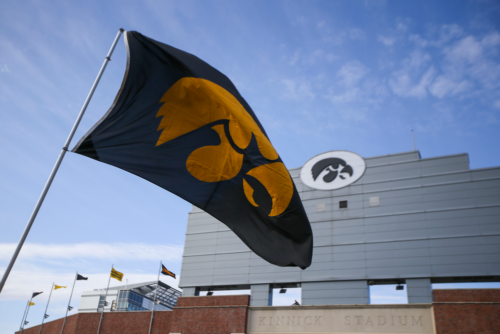 A Tigerhawk flag waves during Iowa football vs Penn State on Saturday, October 12, 2019 at Kinnick Stadium. (Lily Smith/hawkeyesports.com)