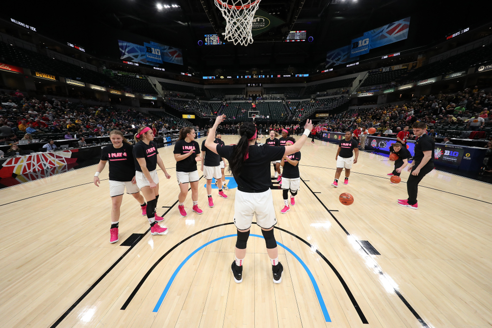 Iowa Hawkeyes forward Megan Gustafson (10) against the Rutgers Scarlet Knights in the semi-finals of the Big Ten Tournament Saturday, March 9, 2019 at Bankers Life Fieldhouse in Indianapolis, Ind. (Brian Ray/hawkeyesports.com)