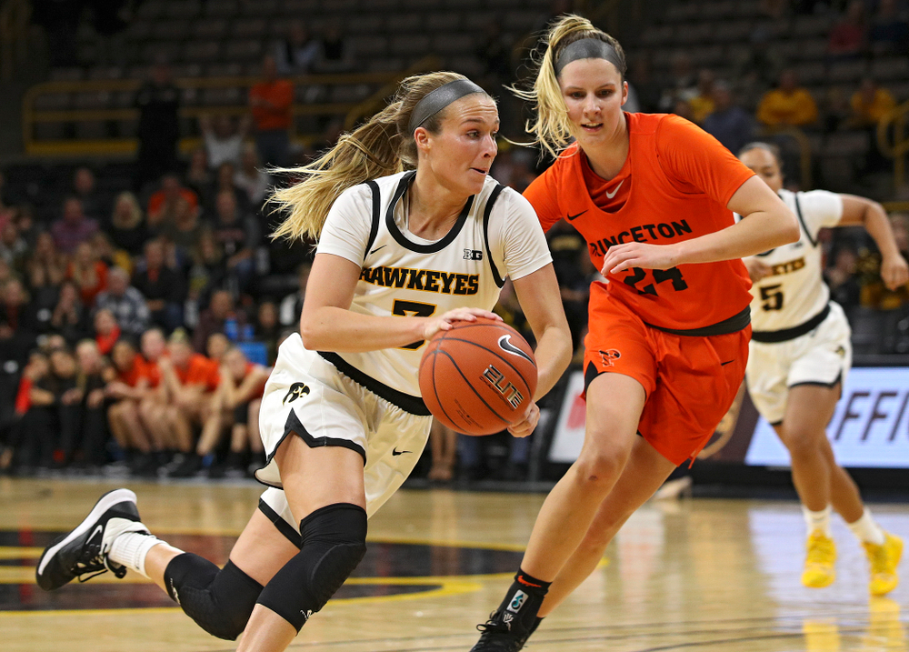 Iowa guard Makenzie Meyer (3) drives with the ball during overtime in their win against Princeton at Carver-Hawkeye Arena in Iowa City on Wednesday, Nov 20, 2019. (Stephen Mally/hawkeyesports.com)