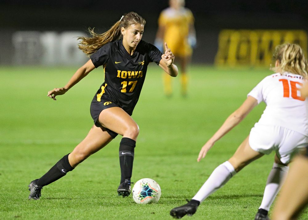 Iowa defender Hannah Drkulec (17) moves with the ball during the second half of their match against Illinois at the Iowa Soccer Complex in Iowa City on Thursday, Sep 26, 2019. (Stephen Mally/hawkeyesports.com)