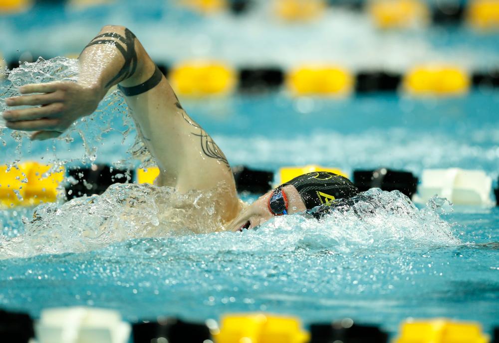 Iowa's Chris Dawson swims the 1000 yard freestyle