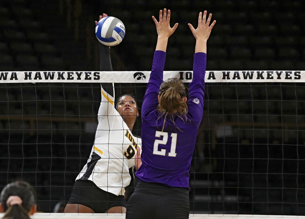 Iowa's Amiya Jones (9) gets up for a kill during their Big Ten/Pac-12 Challenge match at Carver-Hawkeye Arena in Iowa City on Saturday, Sep 7, 2019. (Stephen Mally/hawkeyesports.com)