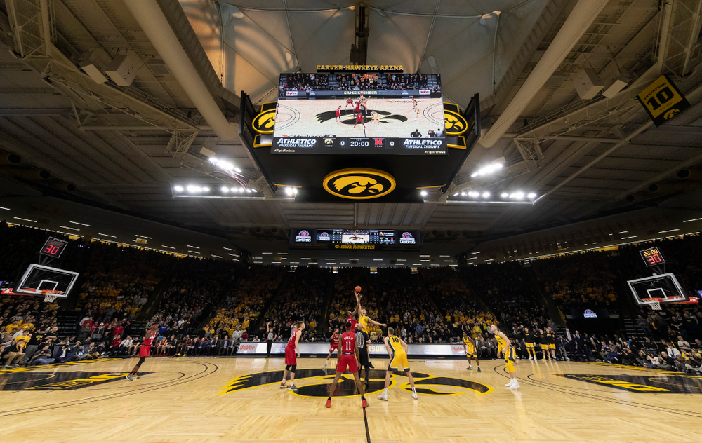 Iowa Hawkeyes forward Luka Garza (55) wins the tip against the Nebraska Cornhuskers Saturday, February 8, 2020 at Carver-Hawkeye Arena. (Brian Ray/hawkeyesports.com)