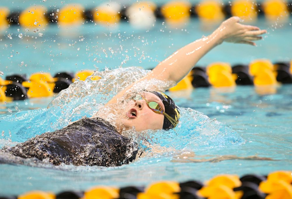 Iowa's Emilia Sansome swims in the women's 200 yard backstroke preliminary event during the 2020 Women's Big Ten Swimming and Diving Championships at the Campus Recreation and Wellness Center in Iowa City on Saturday, February 22, 2020. (Stephen Mally/hawkeyesports.com)