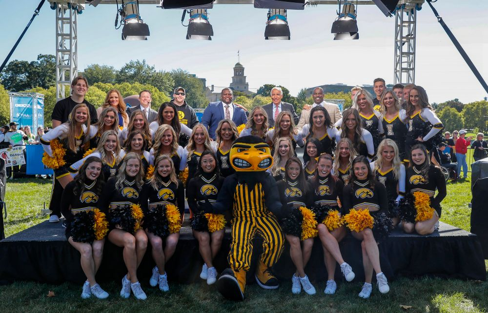 The Iowa Spirit Squad  as the BTN Tailgate does a live show Saturday, September 22, 2018 at Hubbard Park on the University of Iowa Campus. (Brian Ray/hawkeyesports.com)