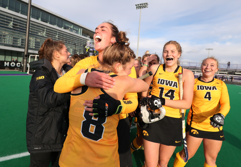 Iowa Hawkeyes Anthe Nijziel (6) and Nikki Freeman (8) celebrate their win against the Michigan Wolverines in the semi-finals of the Big Ten Tournament Friday, November 2, 2018 at Lakeside Field on the campus of Northwestern University in Evanston, Ill. (Brian Ray/hawkeyesports.com)