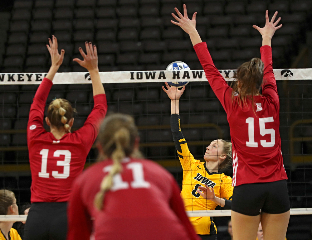 Iowa's Kyndra Hansen (8) sends the ball over the net during their match at Carver-Hawkeye Arena in Iowa City on Sunday, Oct 20, 2019. (Stephen Mally/hawkeyesports.com)