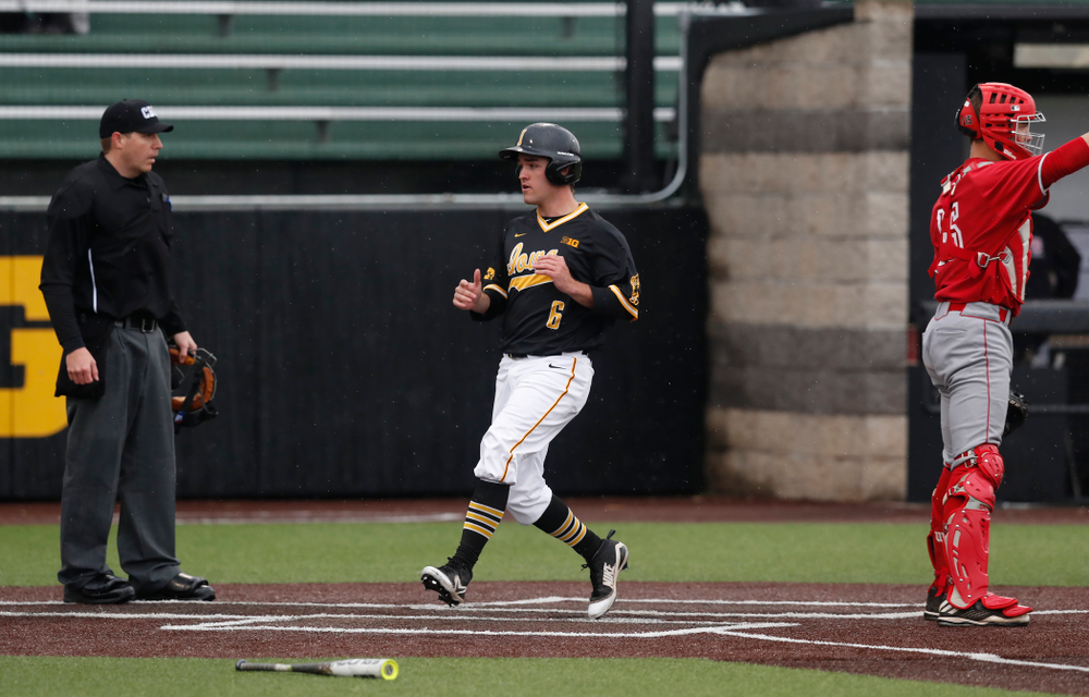 Iowa Hawkeyes outfielder Justin Jenkins (6) against the Bradley Braves Wednesday, March 28, 2018 at Duane Banks Field. (Brian Ray/hawkeyesports.com)