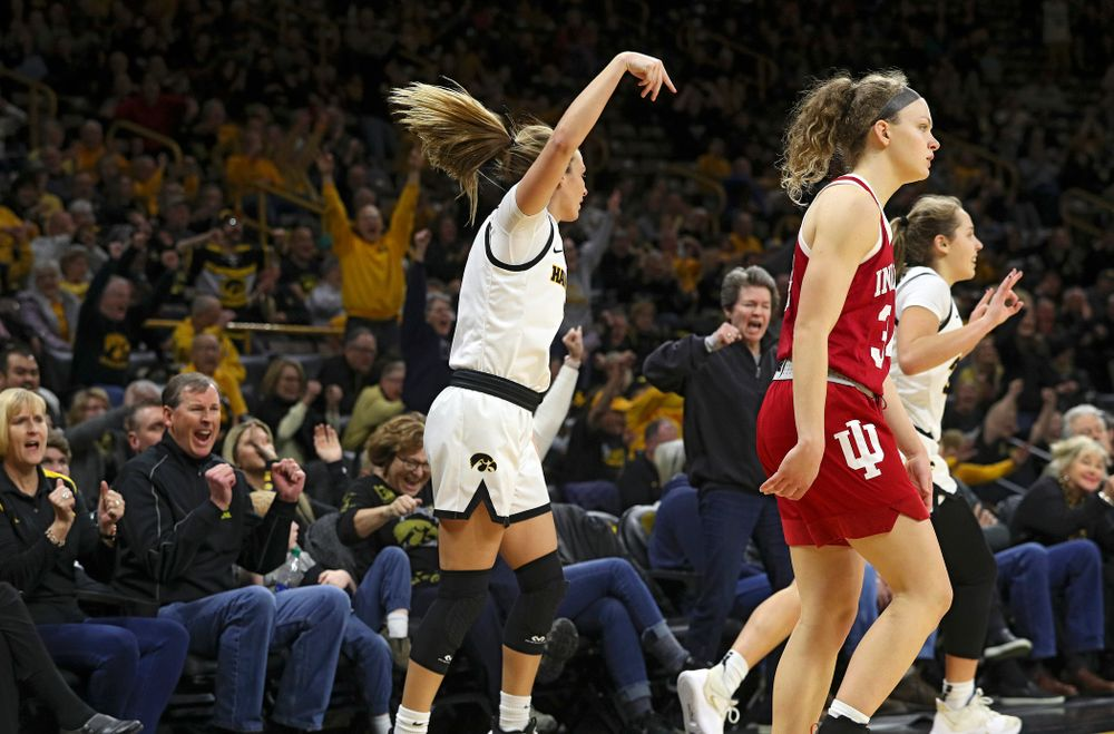 Iowa Hawkeyes guard Makenzie Meyer (3) makes a 3-pointer during the second overtime period of their game at Carver-Hawkeye Arena in Iowa City on Sunday, January 12, 2020. (Stephen Mally/hawkeyesports.com)