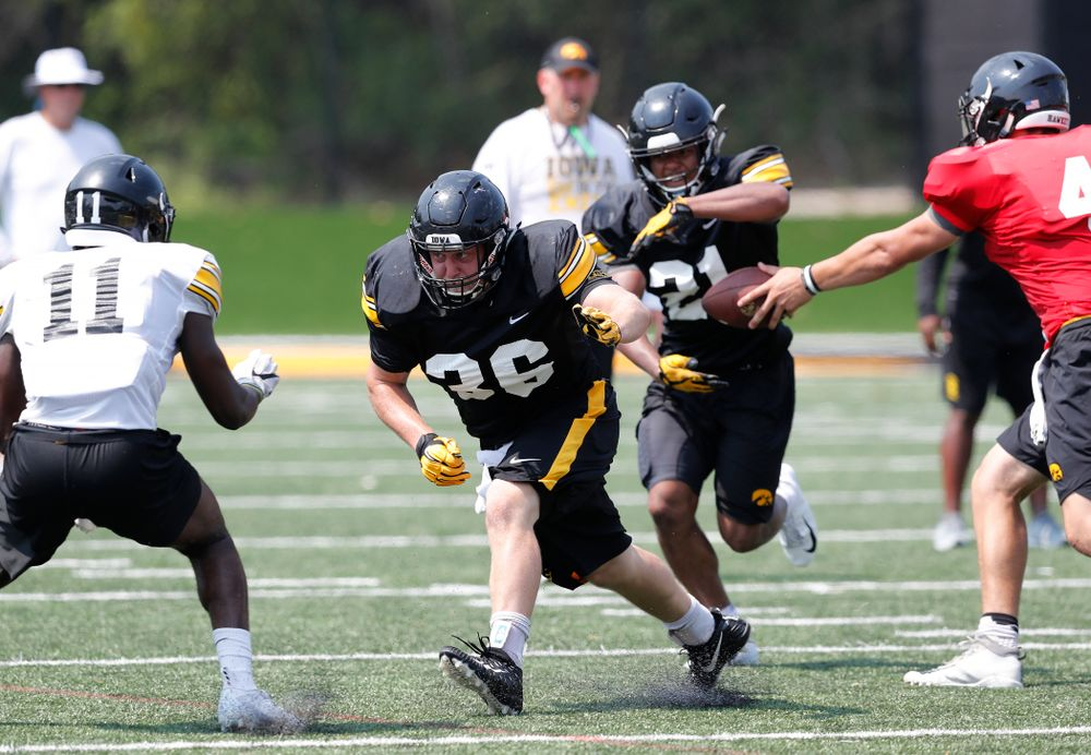 Iowa Hawkeyes fullback Brady Ross (36) during practice No. 7 of fall camp Friday, August 10, 2018 at the Kenyon Football Practice Facility. (Brian Ray/hawkeyesports.com)