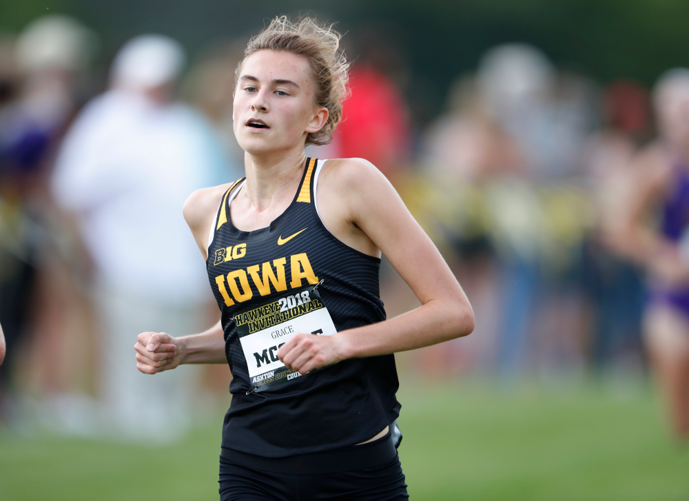 Grace McCabe during the Hawkeye Invitational Friday, August 31, 2018 at the Ashton Cross Country Course.  (Brian Ray/hawkeyesports.com)