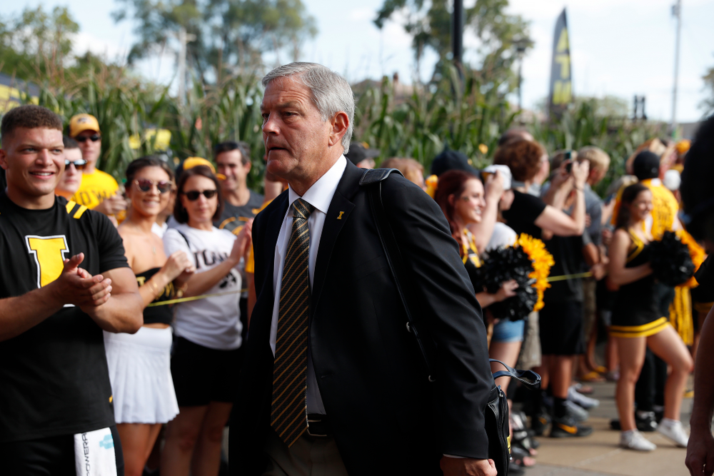 Iowa Hawkeyes head coach Kirk Ferentz  against the Northern Iowa Panthers Saturday, September 15, 2018 at Kinnick Stadium. (Brian Ray/hawkeyesports.com)