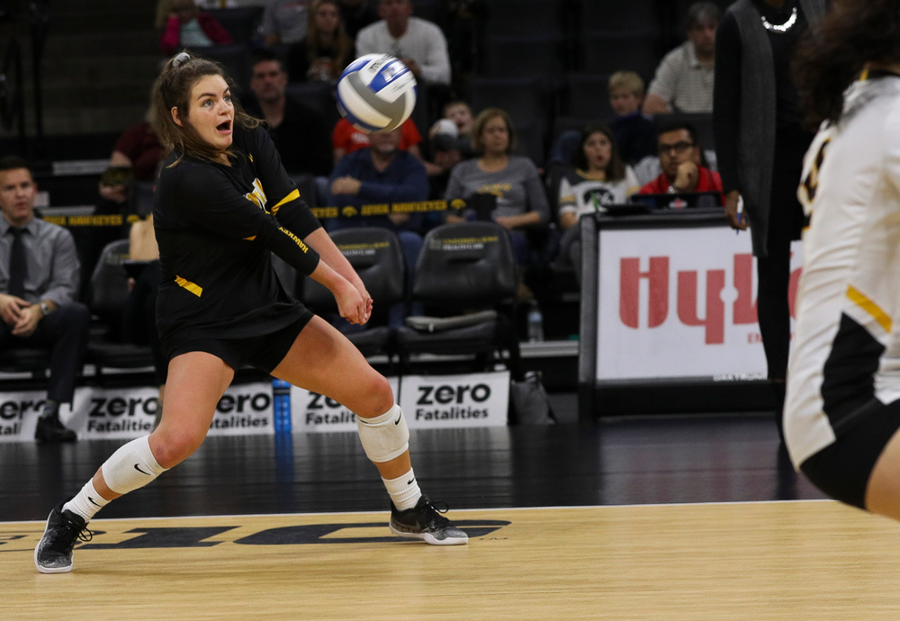 Iowa Hawkeyes defensive specialist Molly Kelly (1) bumps the ball during a match against Rutgers at Carver-Hawkeye Arena on November 2, 2018. (Tork Mason/hawkeyesports.com)