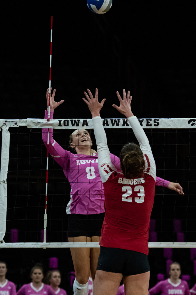 Iowa Hawkeyes right side hitter Reghan Coyle (8) against the Wisconsin Badgers Saturday, October 6, 2018 at Carver-Hawkeye Arena. (Clem Messerli/Iowa Sports Pictures)