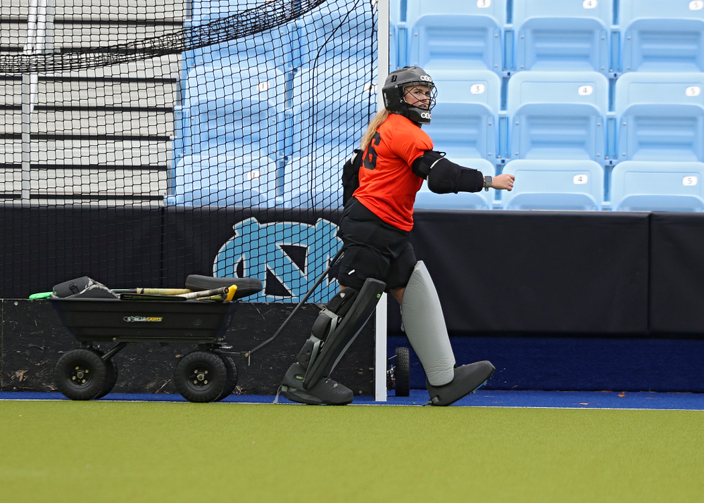 Iowa's Leslie Speight (96) pulls a wagon during their practice at Karen Shelton Stadium in Chapel Hill, N.C. on Thursday, Nov 14, 2019. (Stephen Mally/hawkeyesports.com)