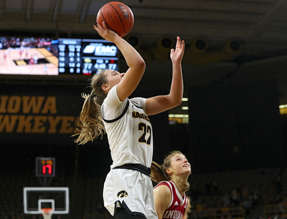 Iowa Hawkeyes guard Kathleen Doyle (22) scores a basket during the second overtime period of their game at Carver-Hawkeye Arena in Iowa City on Sunday, January 12, 2020. (Stephen Mally/hawkeyesports.com)