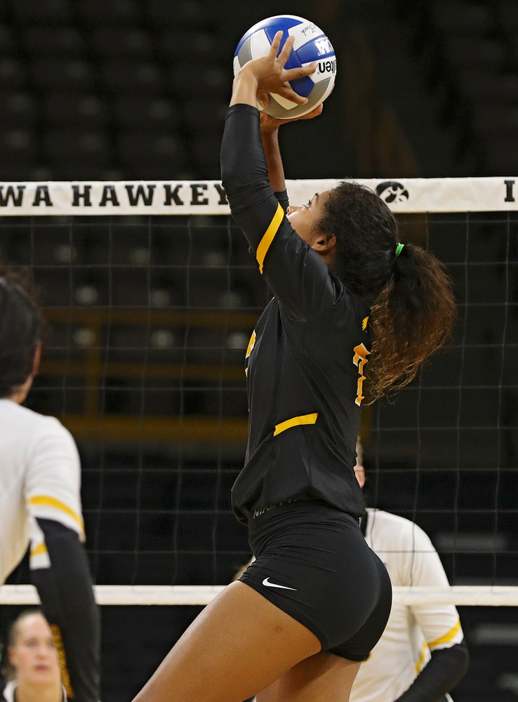 Iowa's Brie Orr (7) sets the ball during the first set of the Black and Gold scrimmage at Carver-Hawkeye Arena in Iowa City on Saturday, Aug 24, 2019. (Stephen Mally/hawkeyesports.com)