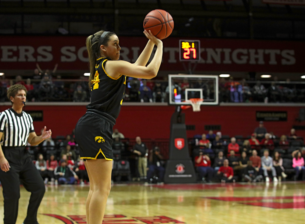 Iowa guard Gabbie Marshall (24) makes a 3-pointer during overtime of their game at the Rutgers Athletic Center in Piscataway, N.J. on Sunday, March 1, 2020. (Stephen Mally/hawkeyesports.com)