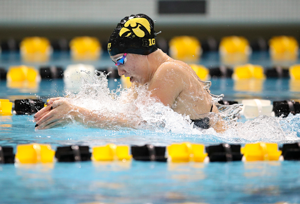 Iowa's Zoe Mekus swims the breaststroke section in the women's 400 yard medley relay event during their meet at the Campus Recreation and Wellness Center in Iowa City on Friday, February 7, 2020. (Stephen Mally/hawkeyesports.com)