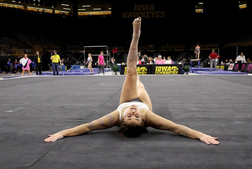 IowaÕs Erin Castle competes on the floor against Ball State and Air Force Saturday, January 11, 2020 at Carver-Hawkeye Arena. (Brian Ray/hawkeyesports.com)