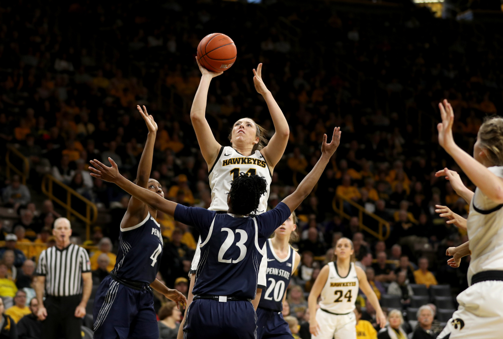Iowa Hawkeyes forward McKenna Warnock (14) against Penn State Saturday, February 22, 2020 at Carver-Hawkeye Arena. (Brian Ray/hawkeyesports.com)