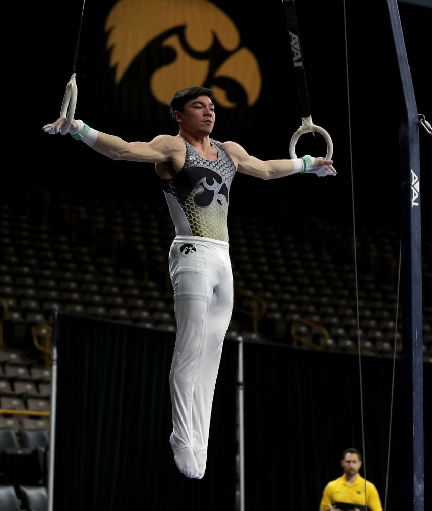 Iowa's Brandon Wong competes on the rings against Illinois Sunday, March 1, 2020 at Carver-Hawkeye Arena. (Brian Ray/hawkeyesports.com)